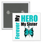 Ovarian Cancer Forever My Hero My Sister 15 Cm Square Badge