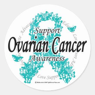 Ovarian Cancer Ribbon of Butterflies Classic Round Sticker