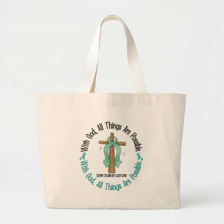 Ovarian Cancer WITH GOD CROSS 1 Tote Bags