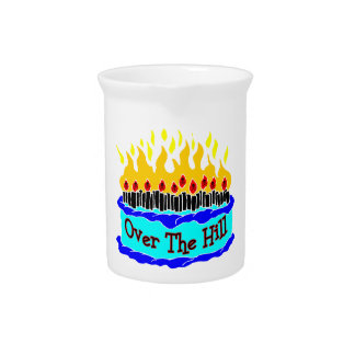 Over The Hill Flaming Birthday Cake Pitcher