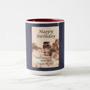 Over The Hill Happy Birthday Vintage Car Mug