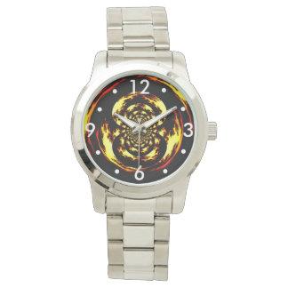 Oversized Silver Bracelet with flame vortex design Watch