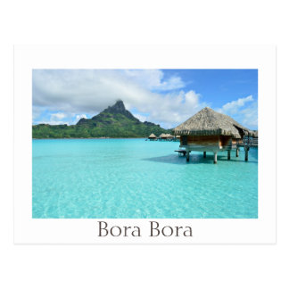 Overwater resort on Bora Bora black text postcard