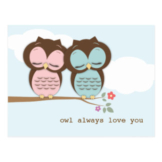 Owl Always Love You Sweet Couple Postcard