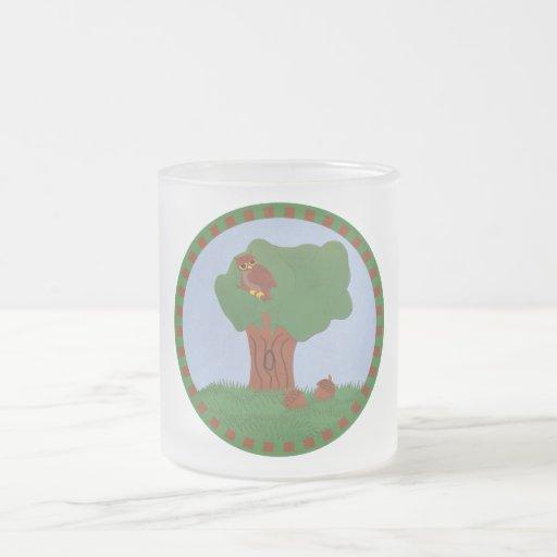 Owl and an Oak Tree Whimsical Cartoon Art Coffee Mugs
