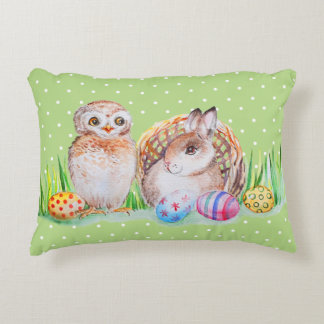 Owl and bunny Easter art Decorative Cushion
