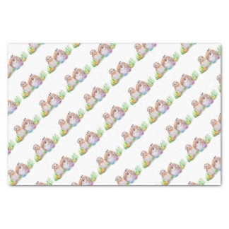 Owl and bunny Easter art Tissue Paper