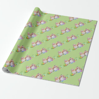 Owl and bunny Easter art Wrapping Paper