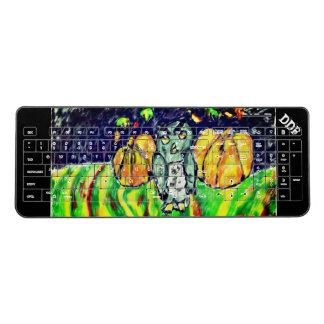 owl and pumpkin art wireless keyboard