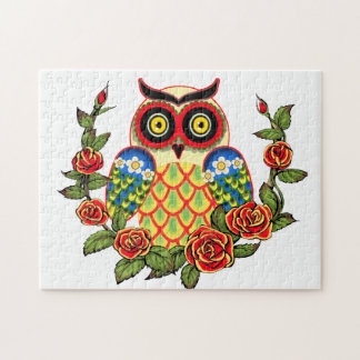 Owl and Roses Mexican style Jigsaw Puzzle