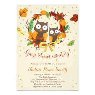 Owl baby shower invitation, fall baby shower card