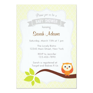 Owl Baby Shower Invitation Neutral Yellow