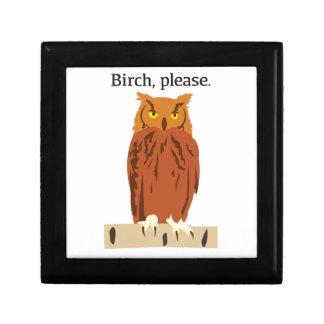 Owl Birch Please Keepsake Box