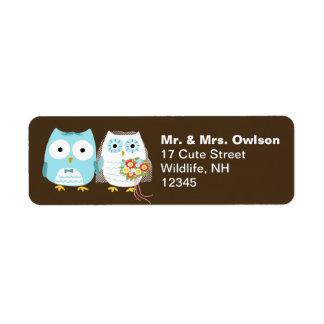 Owl Bride and Groom Wedding Couple Return Address Label