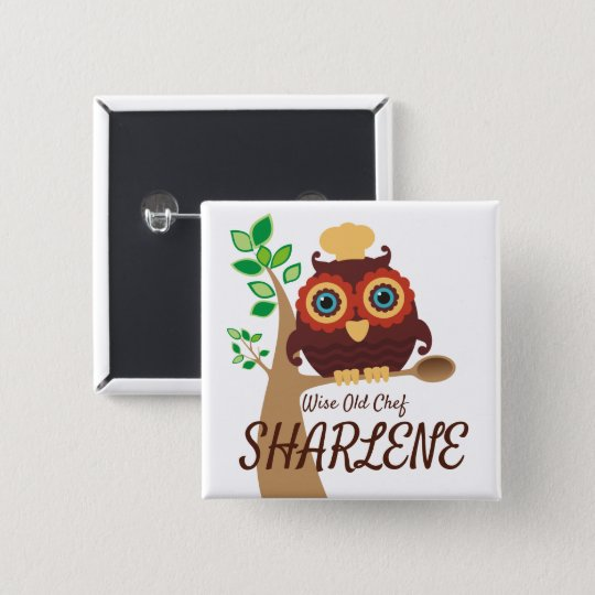 Owl chef bakery cooking class catering name badge