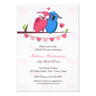 Owl Couple Bridal Shower 13 Cm X 18 Cm Invitation Card