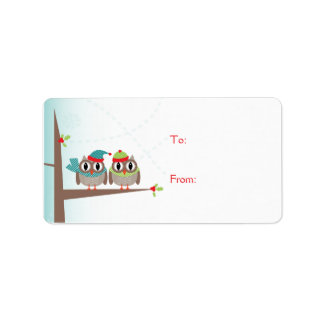 Owl Couple Christmas Gift Label Address Label