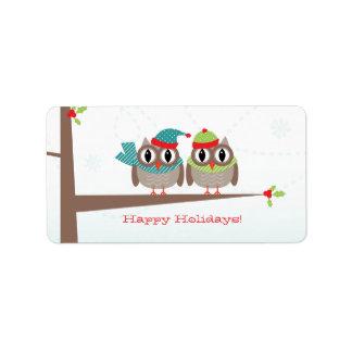 Owl Couple Christmas Label Address Label