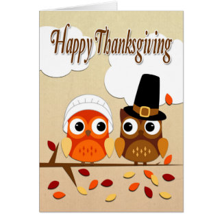 Owl Couple Dressed as Pilgrims for Thanksgiving Greeting Card