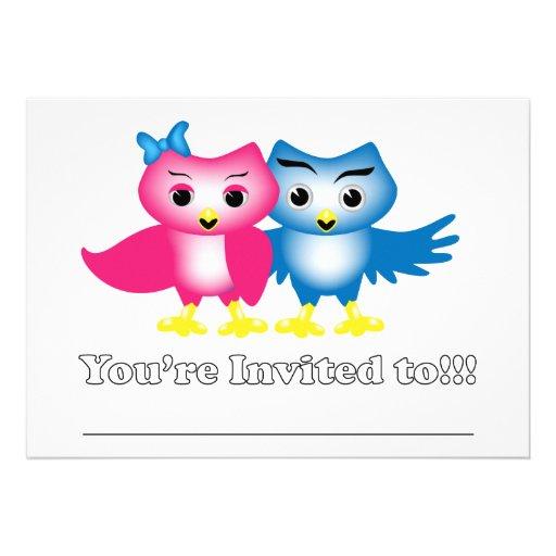 Owl couple invitation 5X7