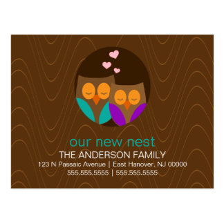 Owl Couple New Address Announcements Post Cards
