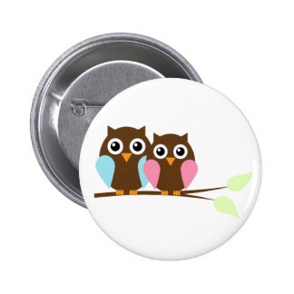Owl couple on a branch pin