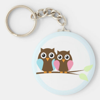 Owl couple on a branch basic round button key ring