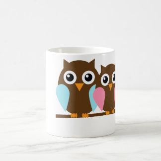 Owl couple on a branch coffee mug