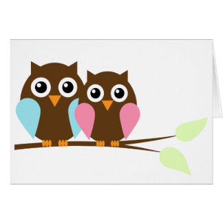 Owl couple on a branch note card