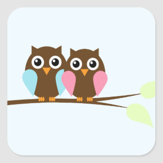 Owl couple on a branch square sticker