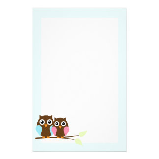 Owl couple on a branch stationery paper