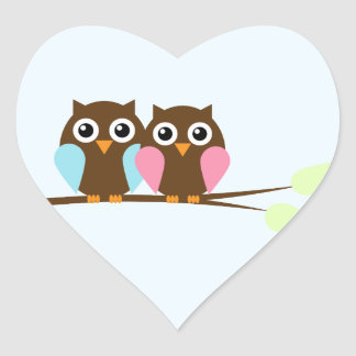 Owl couple on a branch heart sticker