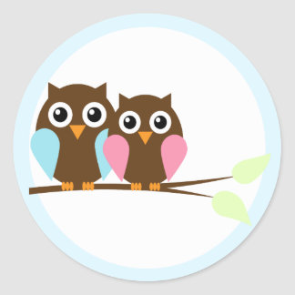 Owl couple on a branch round sticker