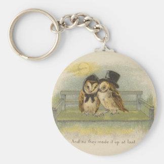 owl couple on bench basic round button key ring
