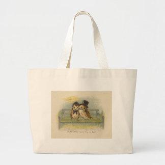 owl couple on bench jumbo tote bag