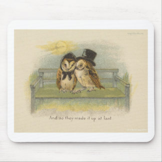owl couple on bench mouse pad