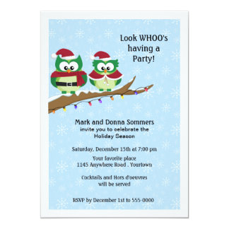 Owl Couple on Tree Branch Holiday Party Invite