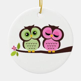 Owl Couple Round Ceramic Decoration