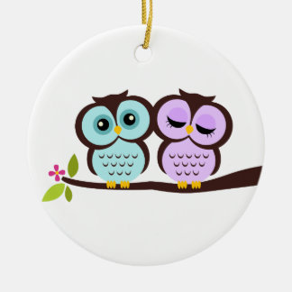 Owl Couple Round Ceramic Decoration