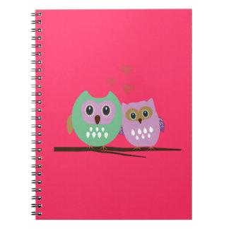 Owl couple spiral notebook