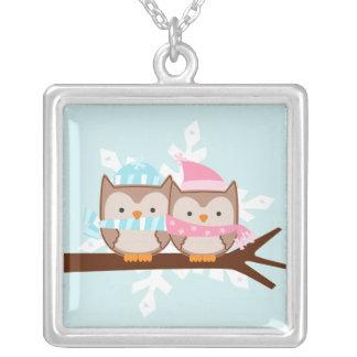 Owl Couple Square Pendant Necklace
