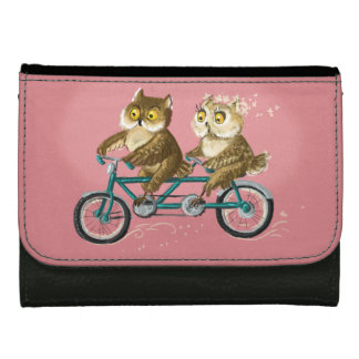 Owl couple tandem bicycle wallets