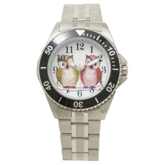 Owl couple watercolor watches