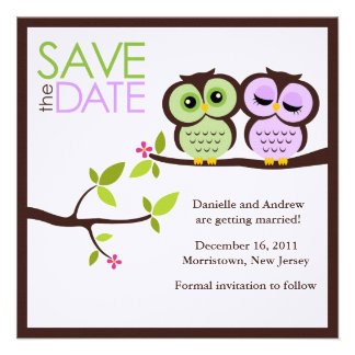 Owl Couple Wedding Save the Date Invitations
