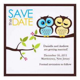 Owl Couple Wedding Save the Date Custom Invite