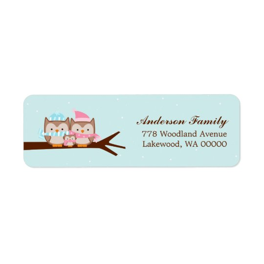 Owl Family Return Address Label