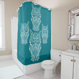 owl family stay together shower curtain