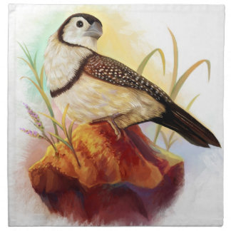 Owl finches realistic painting napkin