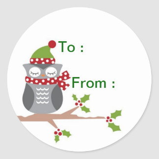 Owl gift label round sticker