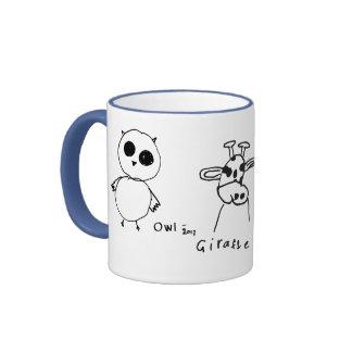 Owl Giraffe and Duck Drawings Mug